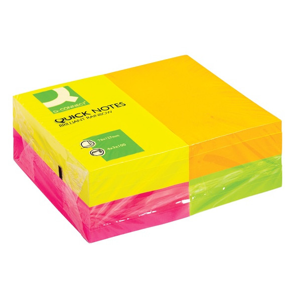 Q-CONNECT QUICK NOTES 76 X 127MM NEON (PACK OF 12)