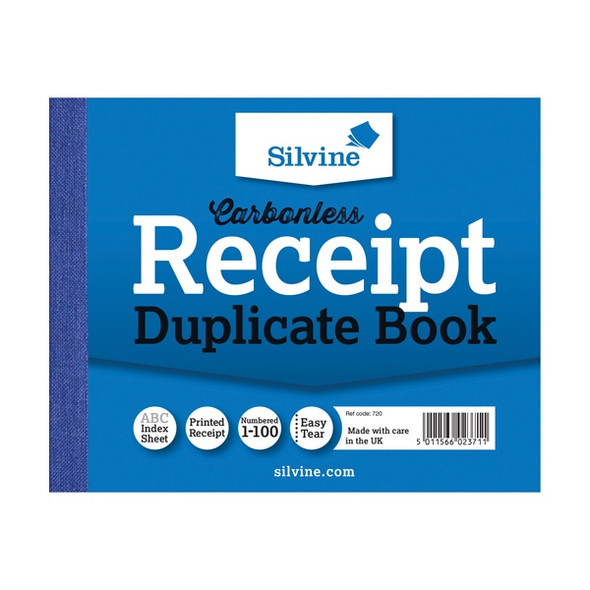 SILVINE CARBONLESS DUPLICATE RECEIPT BOOK 102X127MM SINGLE