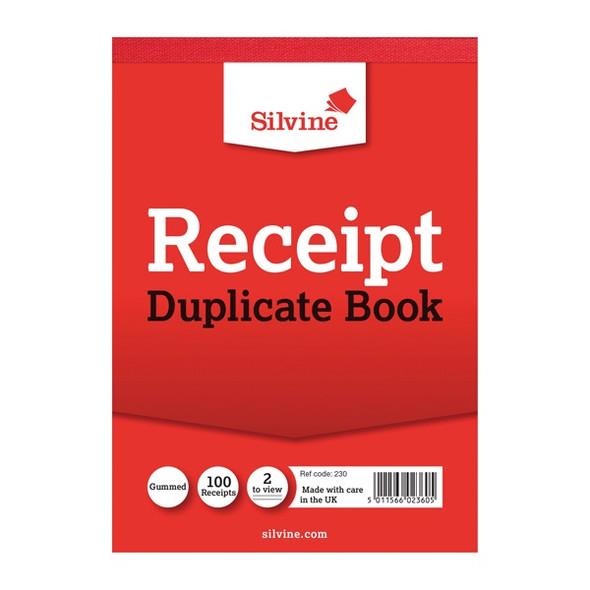 SILVINE DUPLICATE RECEIPT BOOK 105X148MM GUMMED SINGLE