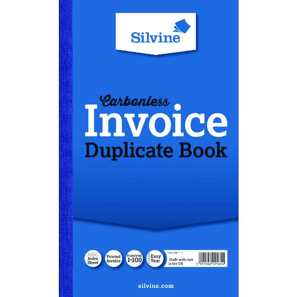 SILVINE CARBONLESS DUPLICATE INVOICE BOOK 210X127MM SINGLE