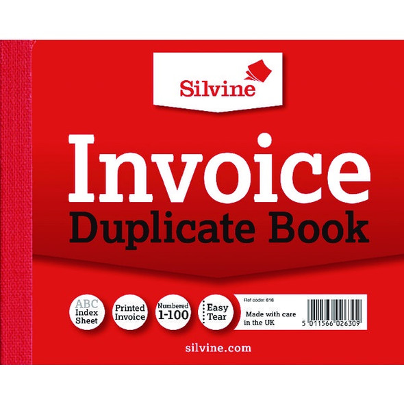 SILVINE DUPLICATE INVOICE BOOK 102X127MM SINGLE