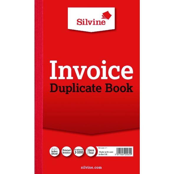 SILVINE DUPLICATE INVOICE BOOK 210X127MM  SINGLE