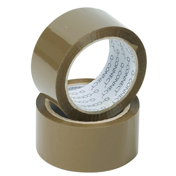 Q-CONNECT POLYPROPYLENE PACKAGING TAPE 50MMX66M BROWN (PACK OF 6)