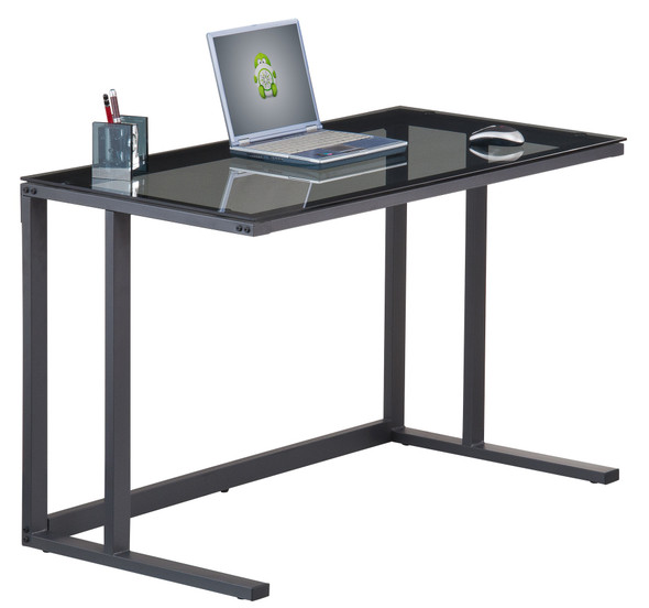 AIR BLACK FRAME SMOKED GLASS DESK