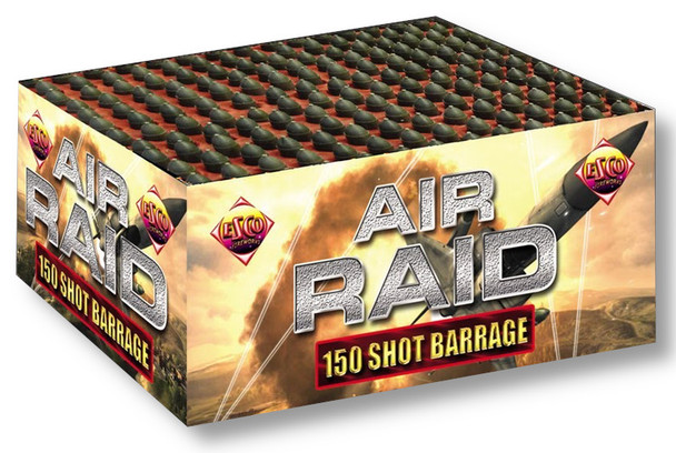 Air Raid 150 shot missile.  Onslaught of rapid fire.  Available in our Bracknell shop.
