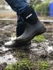 Wearing Otway Cloud Mid Lightweight Insulated Waterproof Neoprene Gumboots in Black (OM00110)