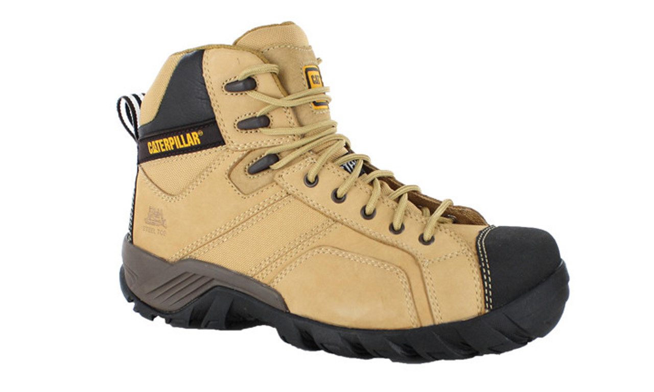Cat Boots Argon Hi Zip Sided Steel Toe Safety Boots Honey