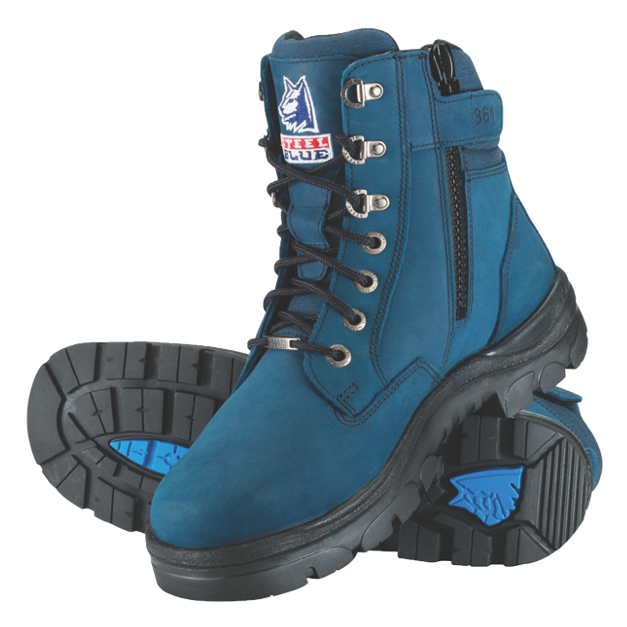 219a41d6a76 Steel Blue Southern Cross Zip Blue - Lace Up Zip Sided Steel Cap Ankle Boot