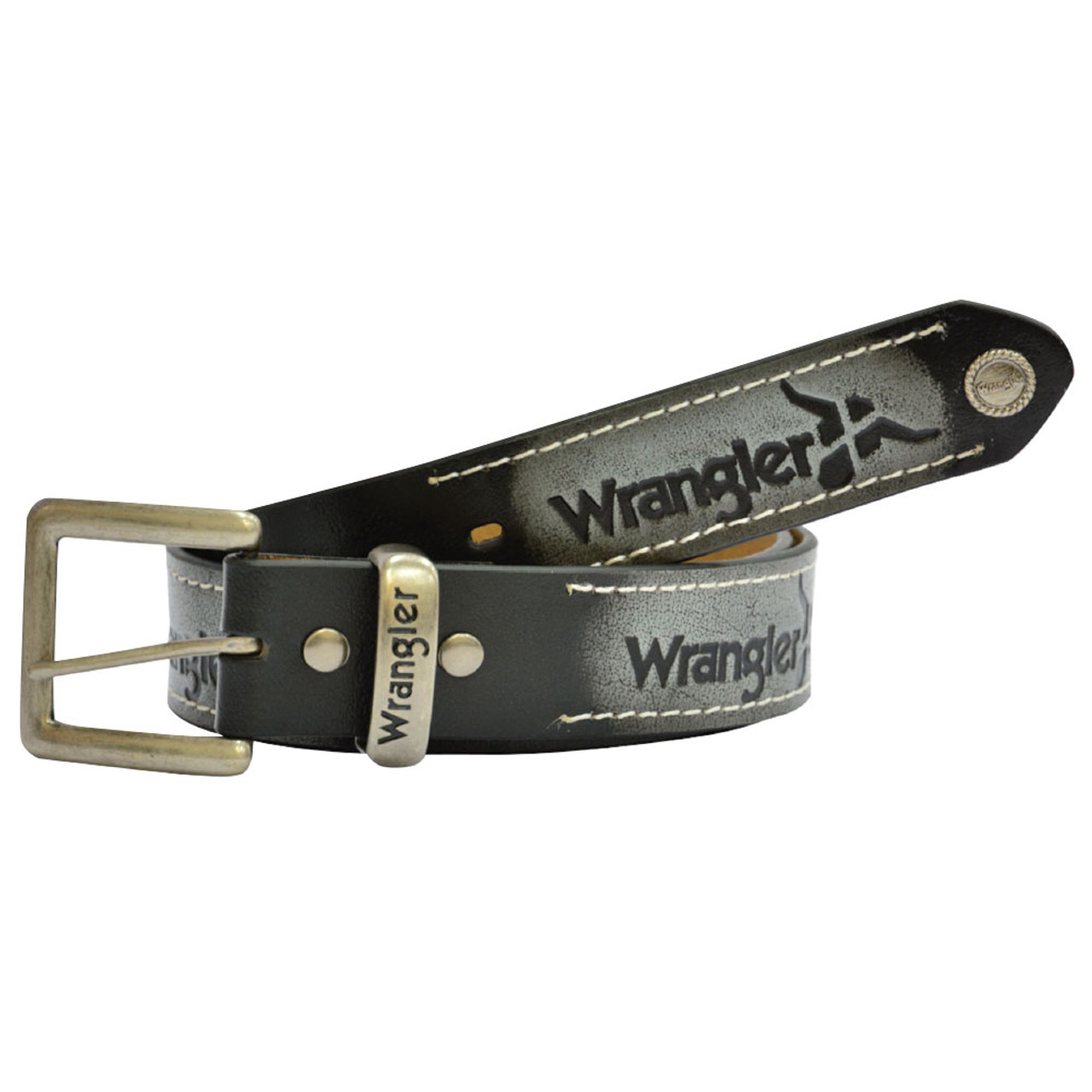 b1422342ea2 Wrangler Western Abrasion Logo Leather Belt Black - Koolstuff Australia
