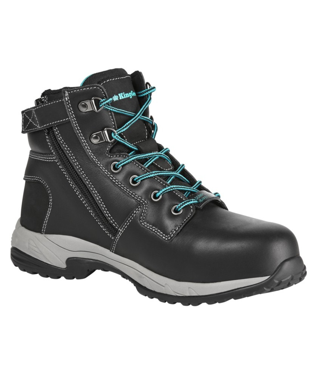 b27e34544ee KingGee Women's Tradie Zip Safety Work Boots in Black Full Grain ...