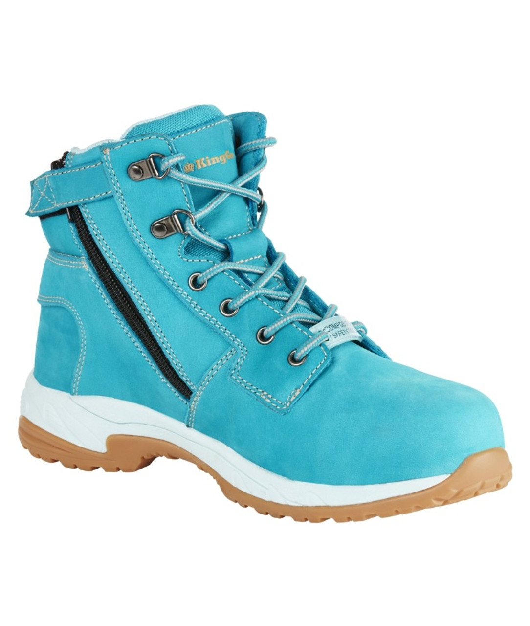 c2ae4b69cba KingGee Women's Tradie Zip Safety Work Boots in Teal Full Grain ...