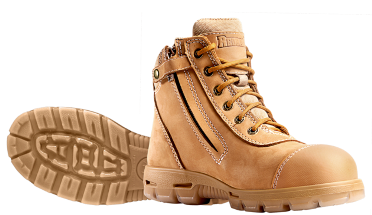 cc589a990e0 Redback Cobar Zip Sided Steel Toe Work Boots with Scuff Cap in Wheat ...