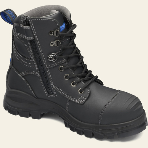 Blundstone 997 Black Premium Lace Up Zip Sided Steel Cap Safety Boot