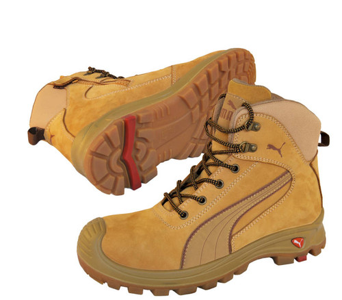 Puma Safety Boots - Scuff Caps - Wheat - Zip Sided Work Boots with Composite Toe Cap