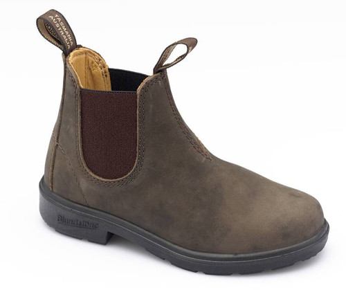 Blundstone 565 Kids Leather Lined Rustic Brown Leather Elastic Side Boots