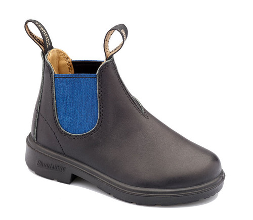 Blundstone 580 Kids Black and Blue Leather Boots