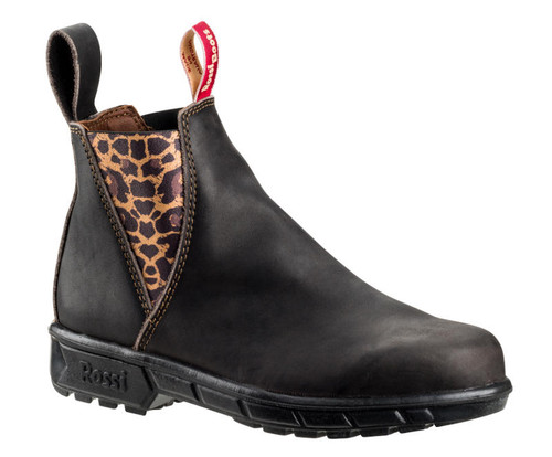 Rossi 343 Musk Womens Leopard Elastic Sided Soft Toe Work Boots