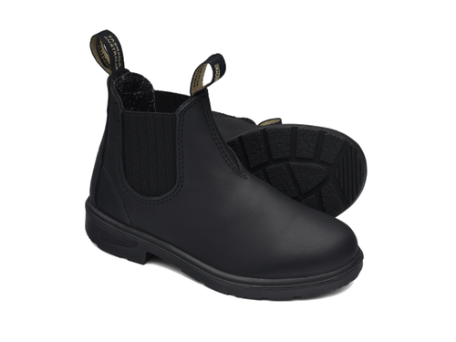 Blundstone 631 Kids Black full grain leather elastic side boots with comfort foot bed (631)