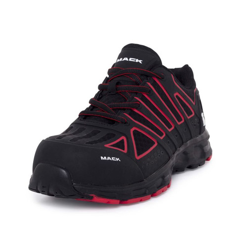 Mack Vision Lightweight Composite Toe Safety Runners in Black and Red