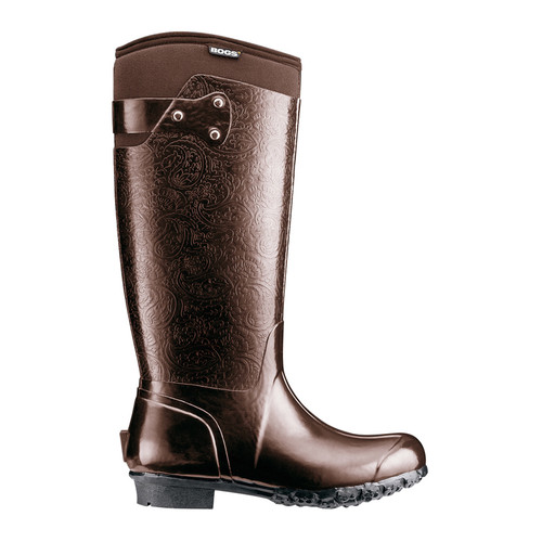 f88c6094558 BOGS Rider Embossed Womens Insulated Wellingtons-Gumboots in Chocolate