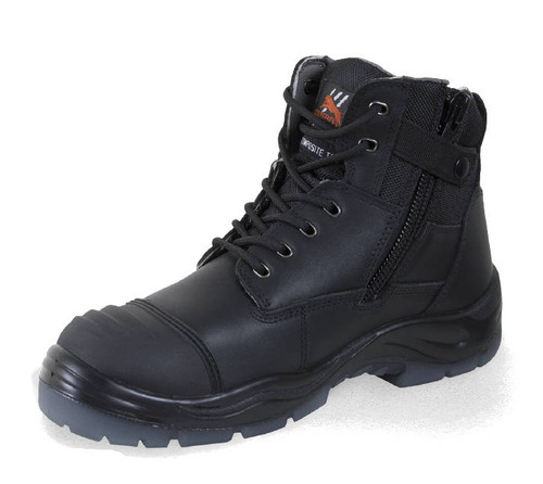 Cougar Phoenix Zip Sided Composite Safety Toe Cap Work Boots in Black