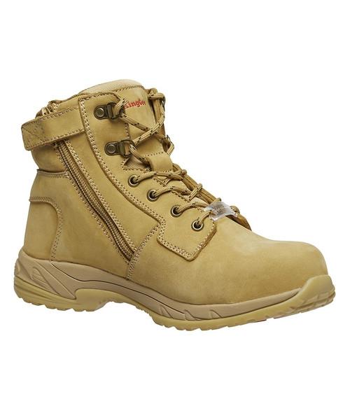 KingGee Women's Tradie Zip Safety Work Boots in Wheat Full Grain Leather (K27380)