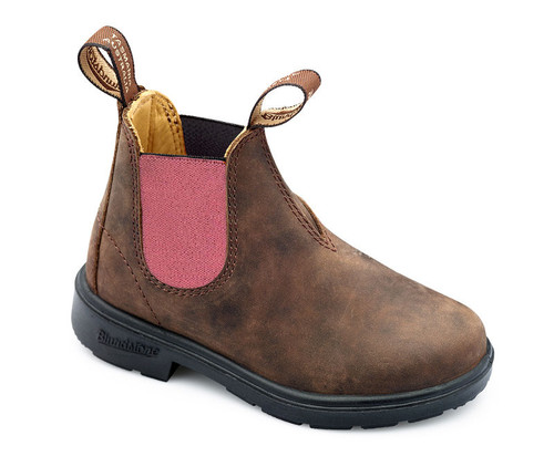 Blundstone Urban 1438 Kids Rustic Brown and Pink Leather Boots (1438)