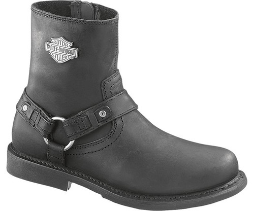 Harley Davidson Scout Zip Sided Full Grain Leather Boots in Black (D95262)