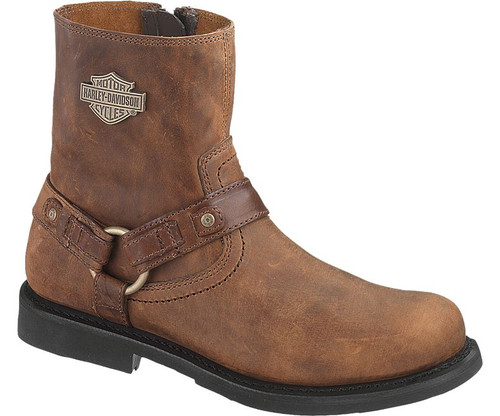 Harley Davidson Scout Zip Sided Full Grain Leather Boots in Brown (D95262 Brown)