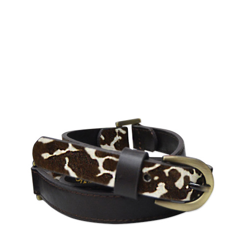 Thomas Cook Women's Chelsea Two Tone Belt in Dark Brown and Cow Print (T8W2912BEL COW)