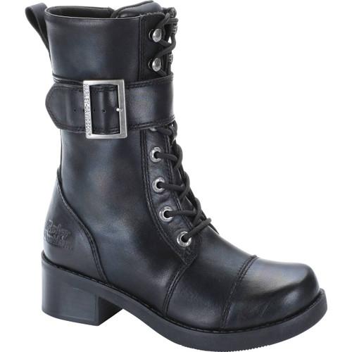 Harley Davidson Jammie Women's Zip Sided Full Grain Leather Boots in Black (D85259 Black)