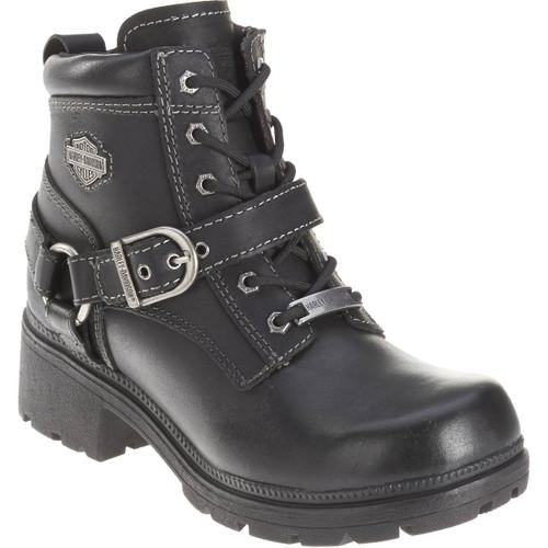 Harley Davidson Tegan Women's Zip Sided Full Grain Leather Boots in Black (D84424 Black)