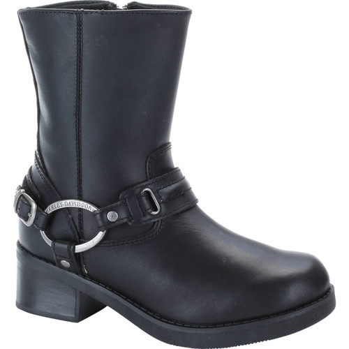 "Harley Davidson Christa Women's 8"" Zip Sided Full Grain Leather Boots in Black (D85298 Black)"