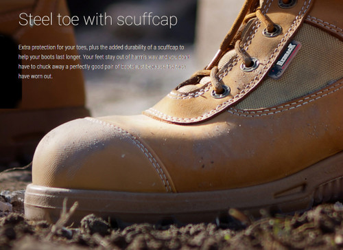 0cd015912c5 Redback Cobar Zip Sided Steel Toe Work Boots with Scuff Cap in Wheat ...