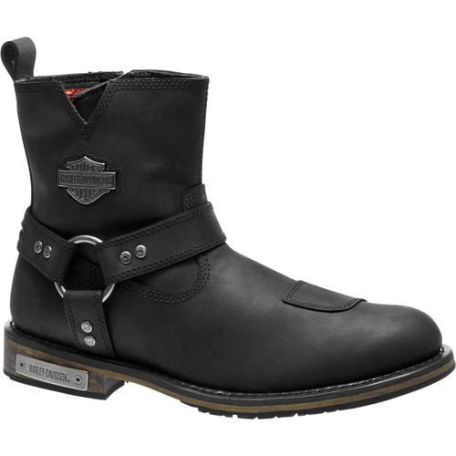 Harley Davidson Conklin Zip Sided Full Grain Leather Boots in Black (D96161 Black) Details