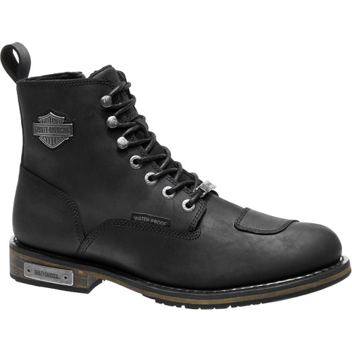 Harley Davidson Clancy Waterproof Zip Sided Full Grain Leather Boots in Black (D96159 Black)