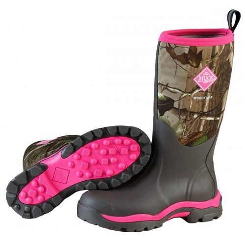 Muck Boots Women's Woody Insulated Waterproof Hunting Boots in Black and Pink (SWWPK-RAPG)