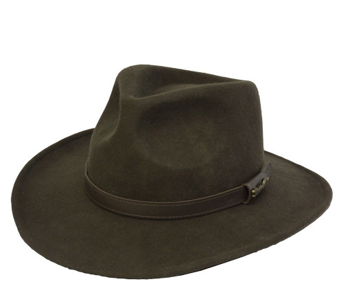 Thomas Cook Bendigo Crushable Hat Made From Pure Wool Felt in Dark Brown (TCP1920084)