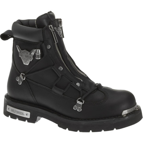 Harley Davidson Brake Light Dual Zip Full Grain Leather Boots in Black (D91680 Black)