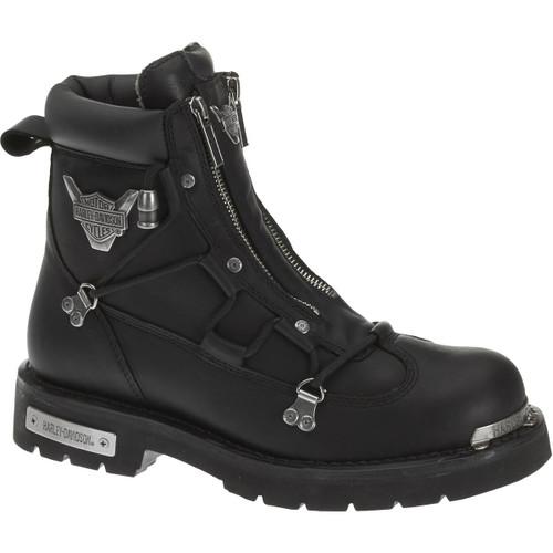Harley Davidson Brake Light Dual Zip Full Grain Leather Boots in Black (D91680 Black)