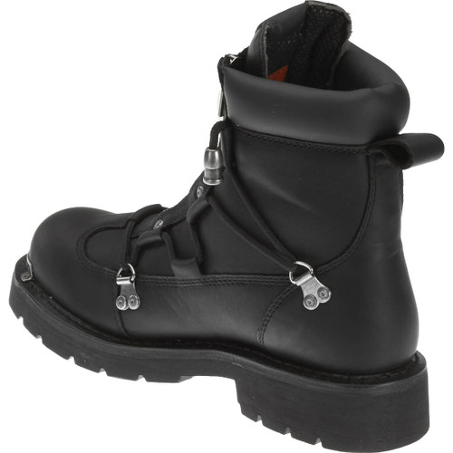 Harley Davidson Brake Light Dual Zip Full Grain Leather Boots In Black