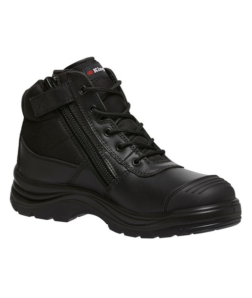 KingGee Tradie Zip Sided Steel Toe Safety Work Boots in Black (K27150)