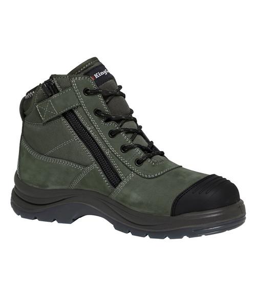 KingGee Tradie Zip Sided Steel Toe Safety Work Boots in Khaki (K27110)
