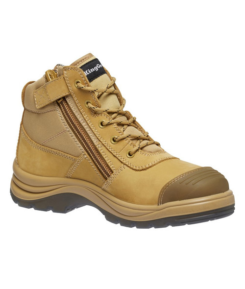 KingGee Tradie Puncture Resistant Zip Sided Steel Toe Safety Work Boots in Wheat (K27125)