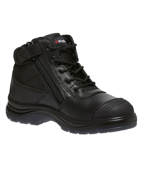 KingGee Tradie Puncture Resistant Zip Sided Steel Toe Safety Work Boots in Black (K27175)