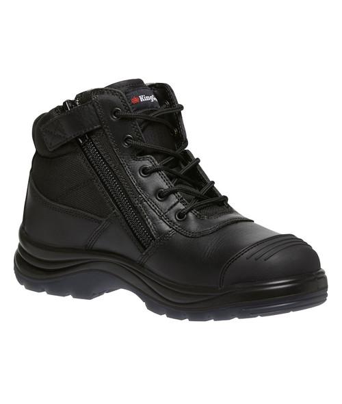 KingGee Tradie Puncture Resistant Zip Sided Steel Toe Safety Work Boots in Black (K27175)