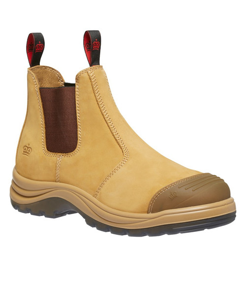 KingGee Tradie Pull On Elastic Sided Steel Cap Safety Boots in Wheat (K25200)