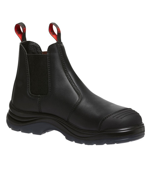 KingGee Tradie Pull On Elastic Sided Steel Cap Safety Boots in Black (K25250)