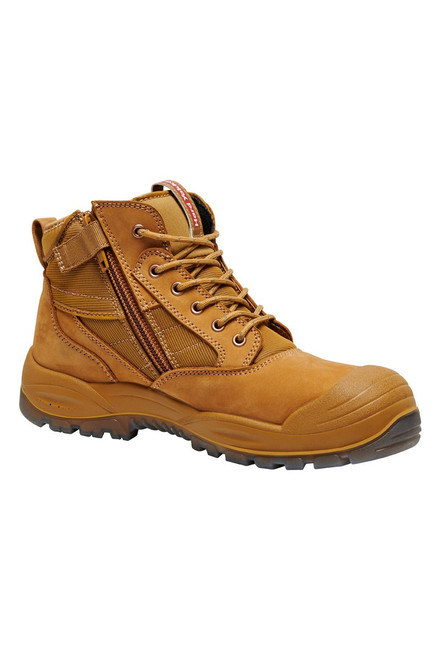 Hard Yakka Nite Vision Zip Sided, Steel Toe Work Boots in Wheat Leather (Y60230)