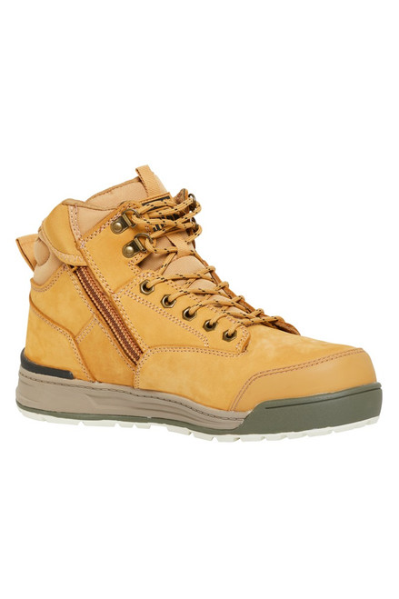 Hard Yakka 3056 Lace Up, Zip Sided, Wide Toe Steel Cap Work Boots in Wheat Leather (Y60200)